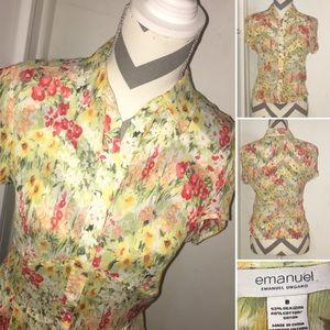 EMANUEL UNGARO | Button down floral short slv top